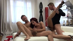 Skinny redhead lady Shona Sea enjoying naughty threesome hook-up