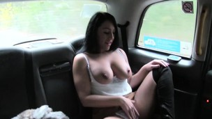 Very horny and big-titted black haired girl gets sprayed