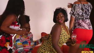 4 African milfs fuck one guy