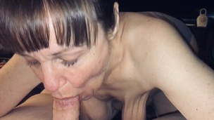 Granny with saggy boobs sucking Dick and getting an oral creampie