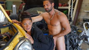 Strong sex in a garage with a busty cougar
