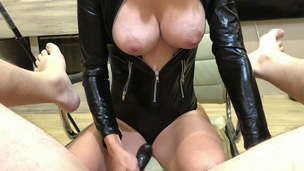 Prostate spunk with spunk eating for a latex Mistress. Short version