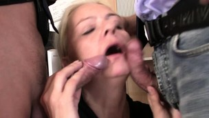 Very old blonde granny riding and blowing