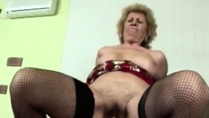Firm sex makes horny blonde granny feel young again
