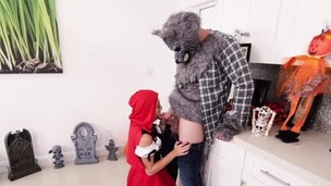 Little red riding bondage mask sucking big dick