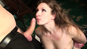 Sub stunner gags while throated with rock hard hard-on
