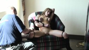 Blonde busty stunner gets fat knockers bonded in chair